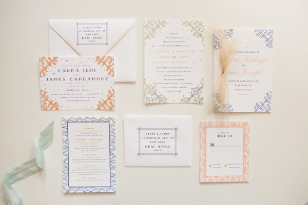 Peach and Navy Wedding Invitations