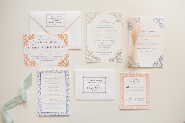 Navy And Peach Wedding Invitations: Classic + Colorful Golf Club Wedding