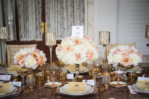 Peach and Rose Gold Wedding Centerpiece