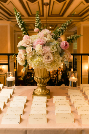 Pink and Green Centerpiece in Urn