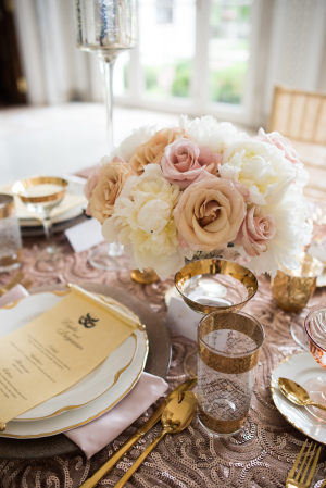 Pink and Rose Gold Wedding Centerpiece