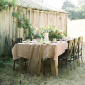 Rustic Green and Blush Wedding Table