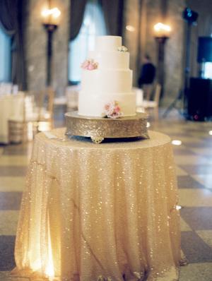 Wedding Cake on Gold Sequin Linen