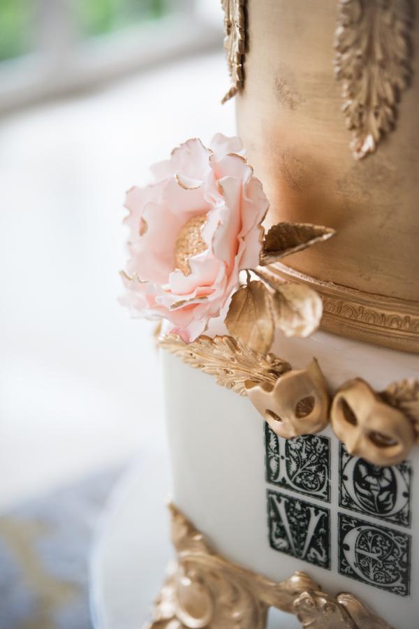 Wedding Cake with Venetian Mask Details