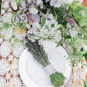White and Purple Wedding Table