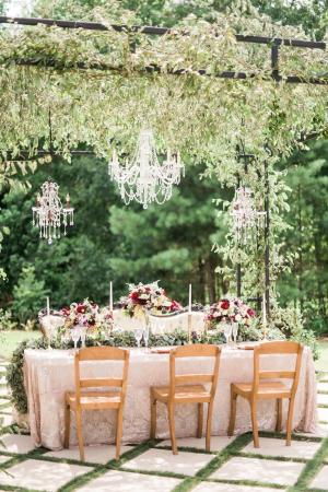Blush and Burgundy Wedding Table