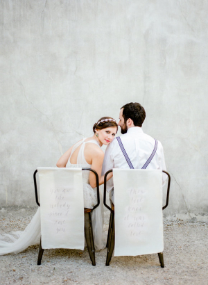 Bride and Groom with Calligraphy Chair Signs