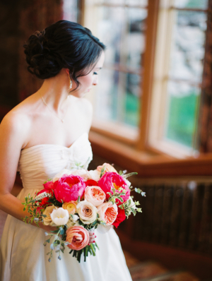 Bride with Peach and Pink Bouquet