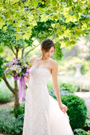 Bride with Purple and Violet Bouquet
