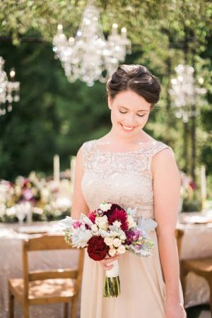 Bridesmaid with Garnet Bouquet
