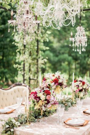 Burgundy and Gold Wedding Decor