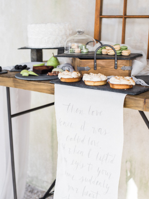 Calligraphy Quote on Dessert Table
