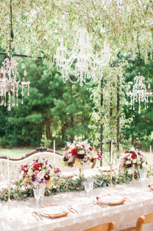 Chandeliers Above Wedding Table
