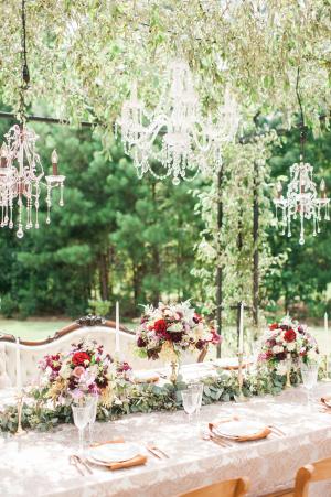 Chandeliers Above Wedding Table