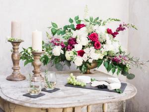 Elegant Garnet and Ivory Centerpiece