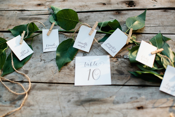 Escort Cards on Greenery Garland