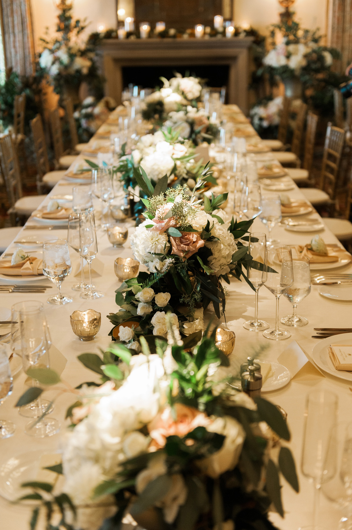 Estate table centerpiece with greenery elizabeth anne designs the wedding blog