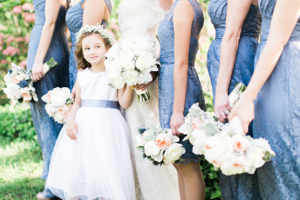 Flower Girl with Blue Sash