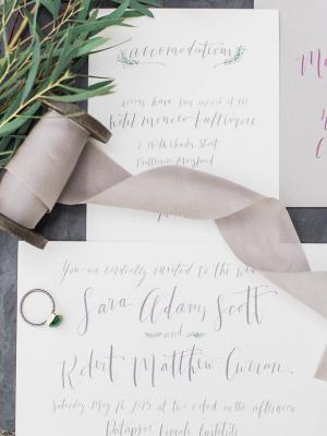 Gray Calligraphy Invitations