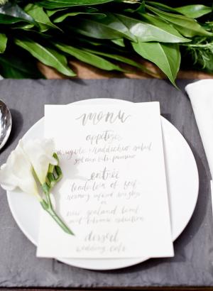 Gray Calligraphy Wedding Menu