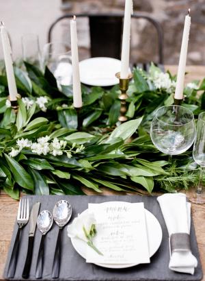 Gray and Green Wedding Table