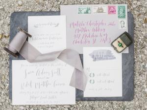 Gray and Lavender Wedding Invitations