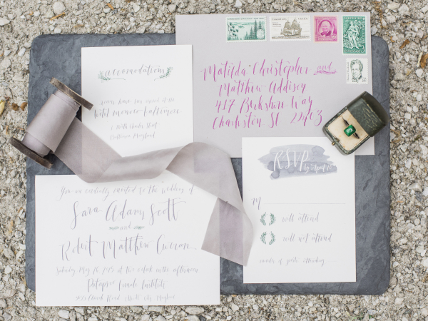 Gray and Lavender Wedding Invitations