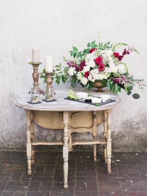 Green and Garnet Wedding Flowers