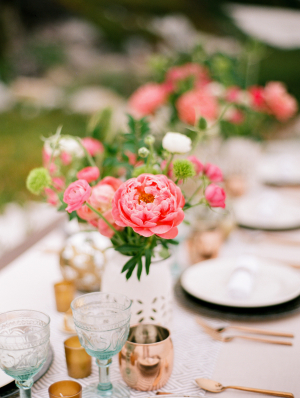 Hot Pink and Copper Wedding Table