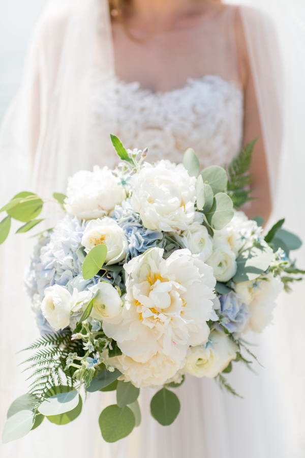 Ivory Peony and Blue Hydrangea Bouquet