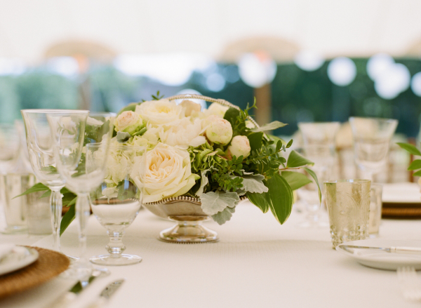 Ivory and Green Centerpiece with Roses
