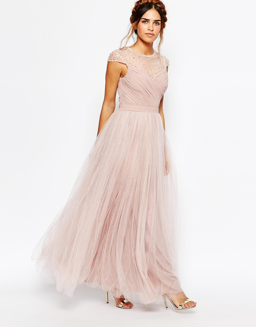 Little Mistress Ruched Bodice Maxi Dress With Pleated
