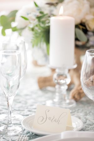 Modern Gray Calligraphy Place Card
