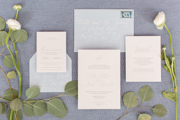 Pale Pink and Blue Wedding Invitations