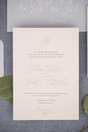 Pale Pink and Gray Wedding Invitations