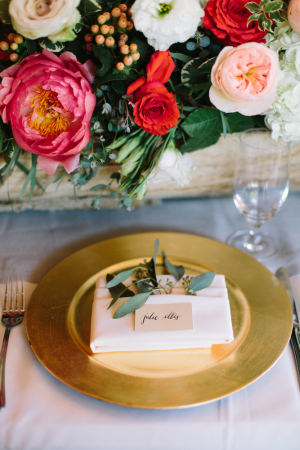 Pink and Gold Rustic Wedding