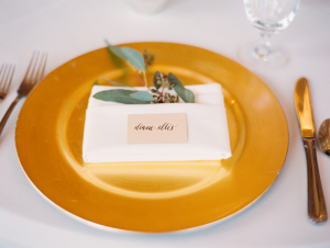 Place Card on Gold Charger
