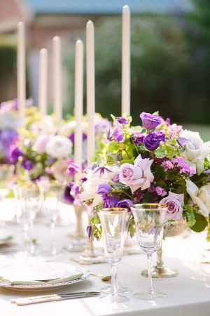 Purple Centerpiece with Taper Candles