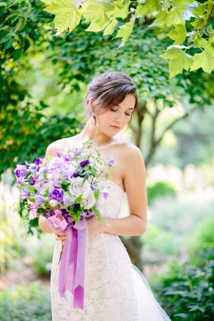Purple Ribbon on Bouquet
