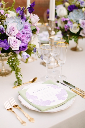 Silver and Purple Wedding Table