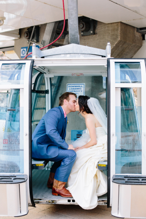 Ski Lift Wedding Photo