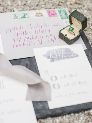 Stationery with Fuchsia Lettering