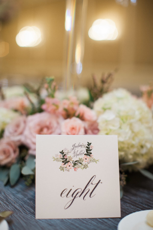 Table Numbers with Wedding Motif
