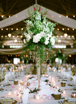 Tall Green and Ivory Centerpiece