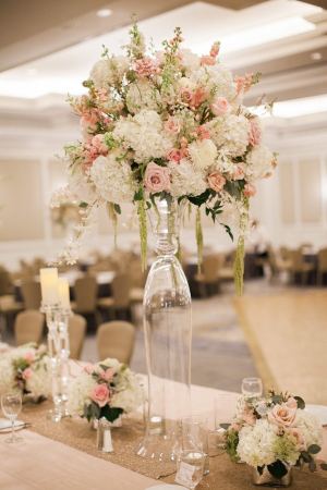 Tall Pink and Ivory Centerpiece