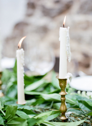 Taper Candles and Greenery
