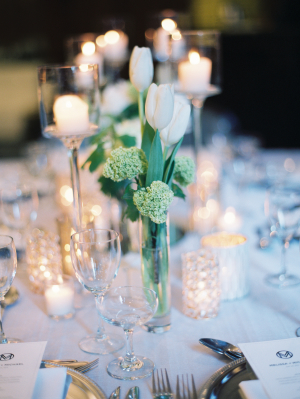 Tulip and Candle Centerpiece