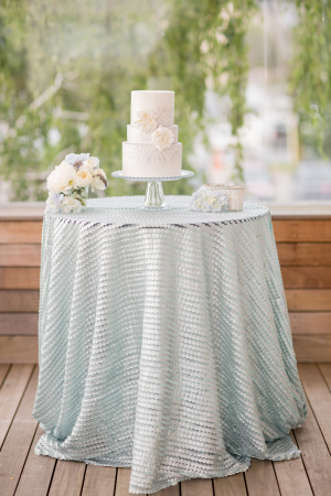 Wedding Cake on Sea Blue Linen
