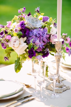 Wedding Centerpiece in Purple Shades