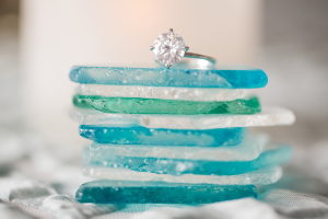 Wedding Ring on Sea Glass
